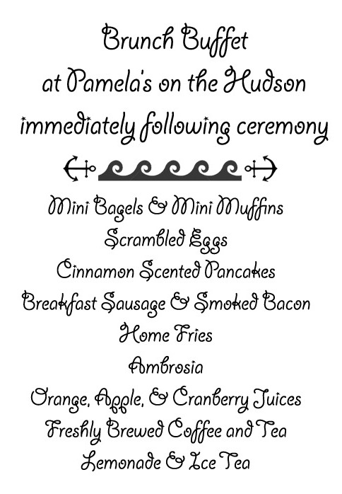 Menu for the Blessing of the Fleet Brunch at Pamela's On The Hudson