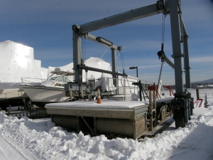 Boat Travel Lift laid up for winter