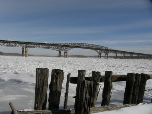 Newburgh Beacon Bridge  spanning icy Hudson