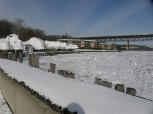 Newburgh Yacht Club at the edge of icy Hudson River