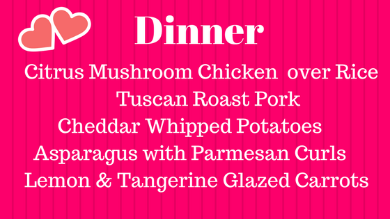 Dinner Menu Valentine's Party