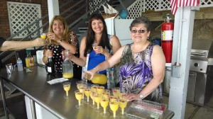 Mary, Kelly and Sharon did a great job serving the chilled juice and mimosas  on the patio.