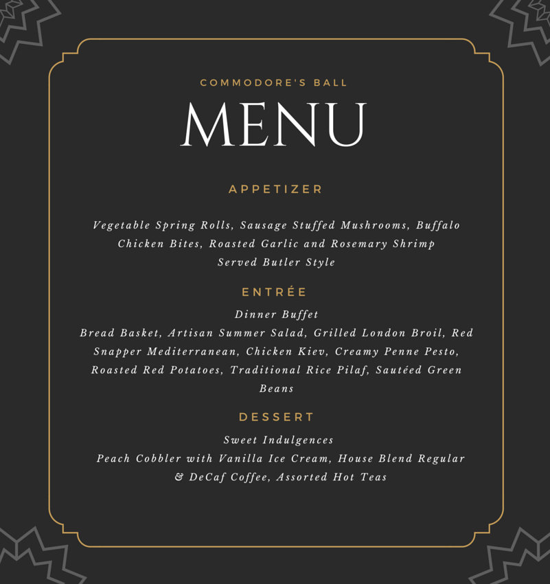 Commodore's Ball Menu showing Appetizers, Entrees and Dessert