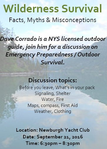 Wilderness Survival Presentation September 21 at Newburgh Yacht Club