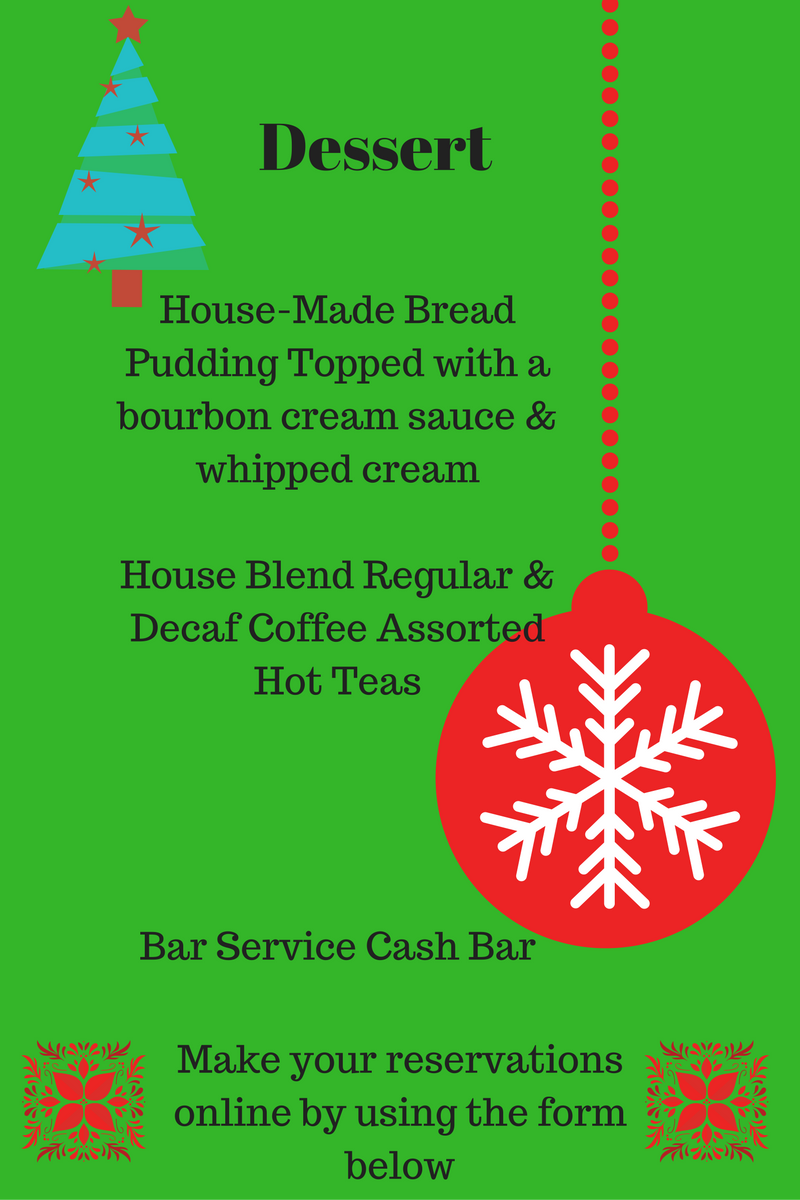 Dessert Menu for Newburgh Yacht Club Christmas Party